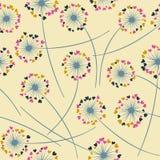 Картина вектора одуванчика дуя флористическая безшовная иллюстрация вектора