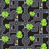 Картина вектора дорог и улиц взгляд сверху безшовная Стоковые Фото