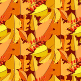 Картина вектора падения листьев осени безшовная иллюстрация штока