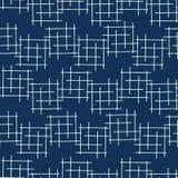 Картина вектора пересекающаяся линия Criss японского стиля сини индиго безшовная иллюстрация вектора