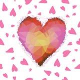 Картина вектора полигональных сердец безшовная для вашего дизайна Стоковая Фотография RF