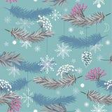 Картина вектора праздника безшовная с листьями, цветками и снегом fl иллюстрация вектора