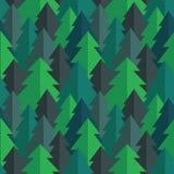 Картина вектора плоского соснового леса безшовная Стоковая Фотография