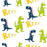 Картина вектора ребенк голубых и зеленых динозавров безшовная для печати ткани иллюстрация вектора