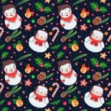 Картина вектора рождества безшовная с снеговиками и женщиной снега Стоковое Изображение RF