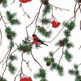 Картина вектора рождества леса зимы безшовная Стоковая Фотография