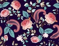 Картина вектора роз Красочные безшовные флористические обои, фон бесплатная иллюстрация