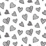 Картина вектора романтичная безшовная с сердцем нарисованным рукой doodles Стоковая Фотография RF