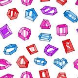 Картина вектора самоцветов doodle шаржа безшовная иллюстрация штока