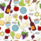 Картина вектора символов еврейской пасхи безшовная Стоковое Изображение