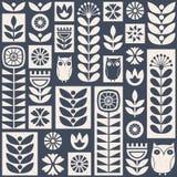Картина вектора скандинавского народного искусства безшовная с цветками, заводы и сычи на несенный вне текстурируют в минималисти иллюстрация вектора
