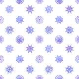 Картина вектора снежинок акварели безшовная Стоковая Фотография RF