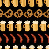 Картина вектора сосиски пива кренделей Oktoberfest иллюстрация штока