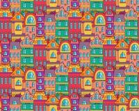 Картина вектора старого streer городка безшовная Стоковые Фотографии RF