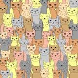 Картина вектора с милыми котами Стоковые Изображения RF