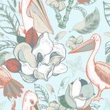 Картина вектора тропическая флористическая безшовная Стоковое Фото