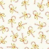 Картина вектора тросточки конфеты безшовная Рождество повторяя предпосылку с тросточками конфеты руки вычерченными с сияющими смы иллюстрация вектора