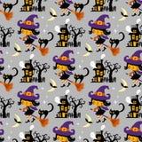 Картина вектора хеллоуина тематическая безшовная иллюстрация штока