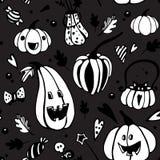 Картина вектора хеллоуина темная безшовная с белыми тыквами бесплатная иллюстрация