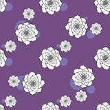 Картина вектора цветка кактуса безшовная Иллюстрация кактуса руки вектора вычерченная пурпурная суккулентная Безшовные обои завод иллюстрация вектора
