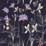 Картина вектора цветка с заводами Винтажный стиль provance иллюстрация штока