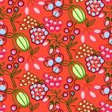 Картина вектора ягод безшовная Значки ягоды плана еды повторяют создают программу-оболочку яркая красная текстура иллюстрация вектора