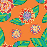 Картина вектора яркая безшовная с цветками doodle Стоковые Фото