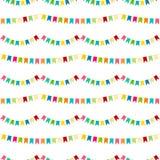 Картина вектора carnaval безшовная красочная Ягнит праздничная предпосылка с яркими лентами День рождения, оформление партии Стоковое Изображение