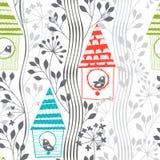 Картина весны безшовная с птицами, цветя деревья и birdhous иллюстрация вектора