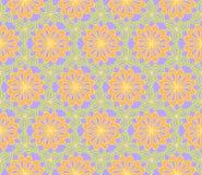 Картина весны или лета безшовная Декоративные стилизованные цветки с листьями Предпосылка вектора Стоковые Фото