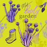 Картина весны с цветками лука иллюстрация вектора