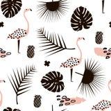 Картина ветви ладони ультрамодная безшовная с элементами нарисованными рукой Лист Monstera, ананас, фламинго Большой для ткани, в иллюстрация штока