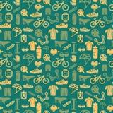 Картина велосипеда безшовная Стоковая Фотография RF