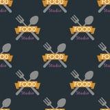 Картина вилки ложки безшовная варя дизайн оформления еды магазина хлебопекарни иллюстрации вектора текста мотивировки значка Стоковая Фотография
