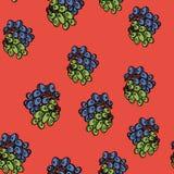 Картина виноградины безшовная на красной предпосылке иллюстрация штока