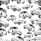Картина винтажного автомобиля безшовная, черно-белая ретро предпосылка шаржа, книжка-раскраска, monochrome чертеж автомобили на a иллюстрация штока