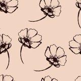 Картина винтажного вектора безшовная с нарисованными вручную цветками Стоковая Фотография RF