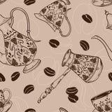 Картина винтажного кофе безшовная Стоковая Фотография
