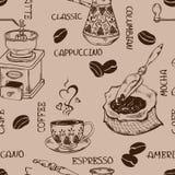 Картина винтажного кофе безшовная Стоковое Изображение RF