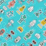 Картина винтажного робота игрушки олова безшовная Стоковое Изображение