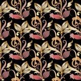 Картина винтажного флористического золота безшовная Предпосылка вектора штофа Стоковые Фотографии RF
