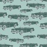 Картина винтажного cabriolet автомобиля безшовная, ретро предпосылка шаржа, monochrome Для дизайна обоев, оболочка, ткань вектор иллюстрация вектора