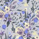Картина винтажной акварели флористическая безшовная с Wildflowers бесплатная иллюстрация