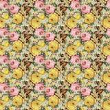 Картина винтажной затрапезной флористической предпосылки роз безшовная стоковые фото