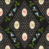 Картина винтажной тенденции вышивки флористическая безшовная Стоковое фото RF