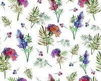 Картина винтажных флористических трав безшовная с цветками и лист леса Печать для обоев ткани бесконечных Нарисованный вручную бесплатная иллюстрация
