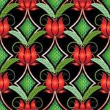 Картина винтажных ярких красных тюльпанов безшовная иллюстрация штока
