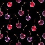 Картина вишни акварели темная безшовная иллюстрация вектора