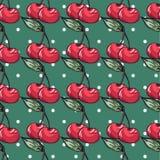 Картина вишни на предпосылке точки польки Стоковая Фотография RF