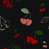 Картина вишни на черной предпосылке Стоковые Фото